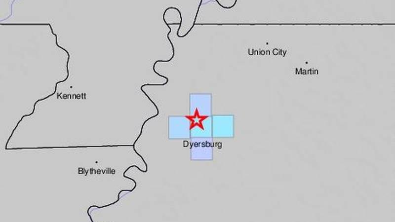 A 2.7 magnitude earthquake rattles near Dyersburg, Tn.