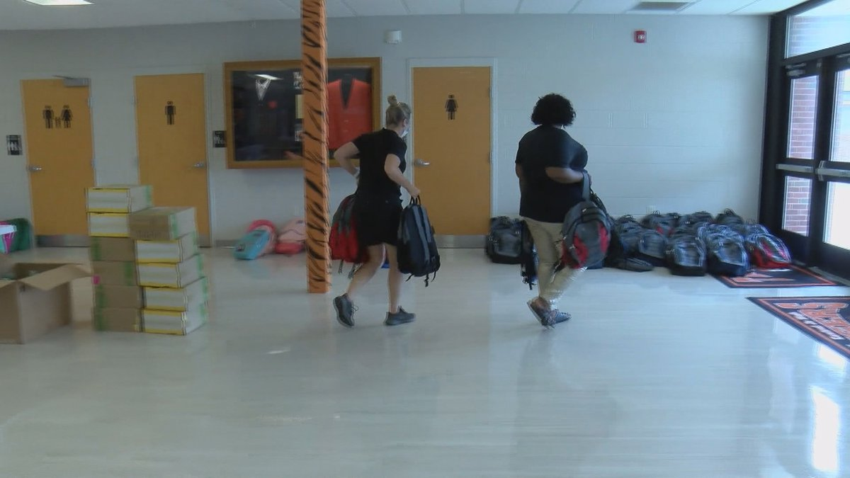 About 500 backpacks were filled at the Cape Central Junior High School on Thursday, August 19.