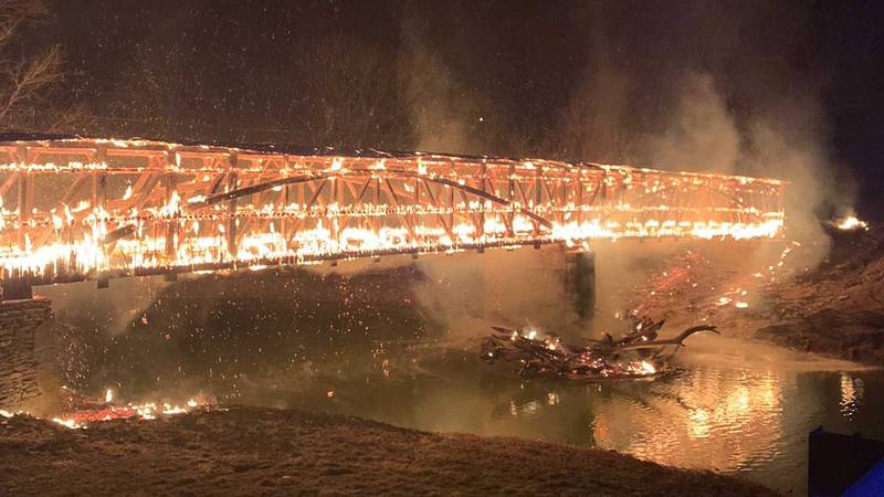 The 150 year old Mt. Zion Covered Bridge in Washington County, Ky. was destroyed by fire late...