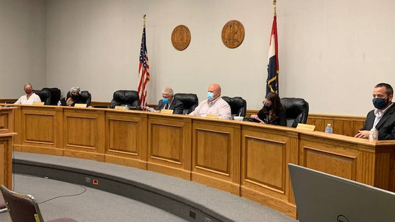 Cape Girardeau City Council members are masked in keeping with County Health Department Mandate.