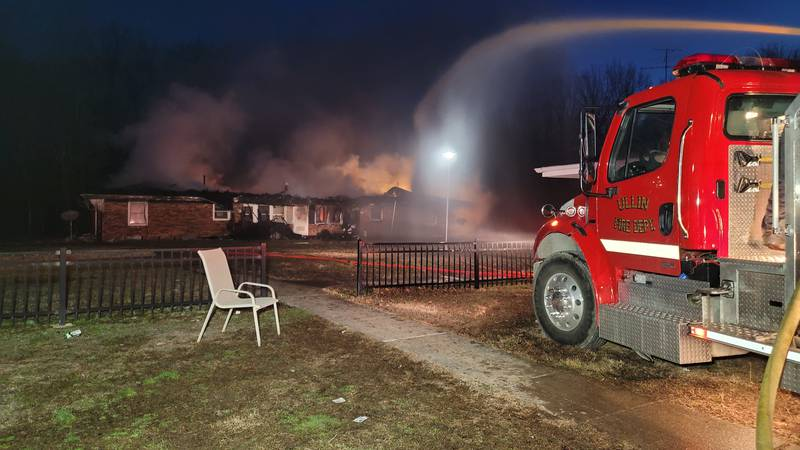 Ullin and Tamms Fire Departments are battled a fire at a Pulaski County Housing Authority...