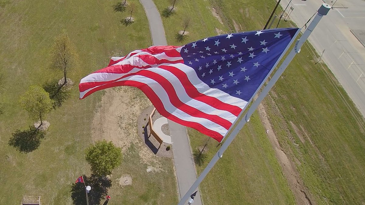 """A """"big flag"""" was raised in Sikeston, Mo. to show unity. (Source: Don Frazier/KFVS)"""