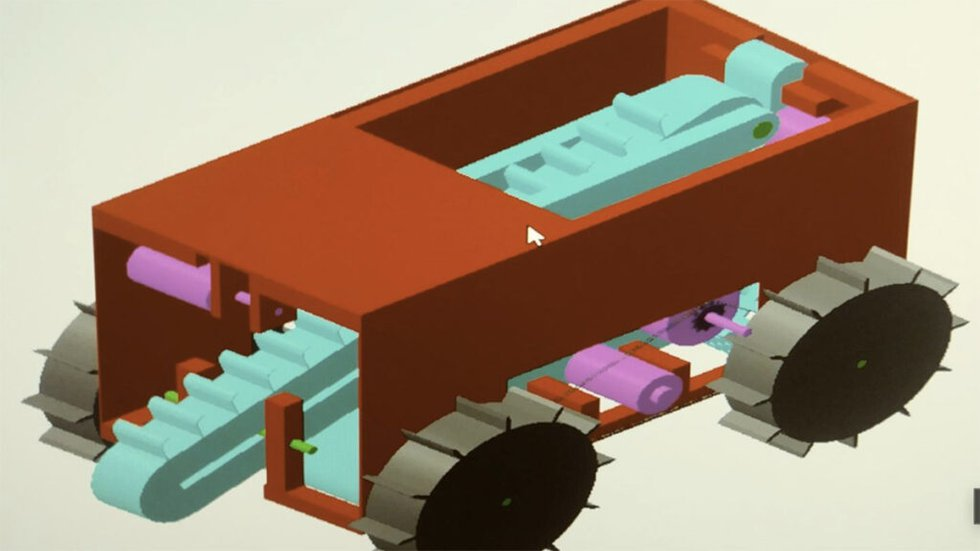 A computer-aided drawing of prototype mining robot built by a team of student engineers at...