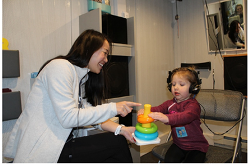 A mobile clinic, staffed by audiologists and speech pathologists from St. Louis Children's...