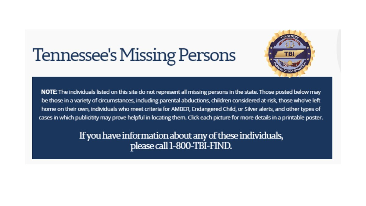 TBI Missing Person Website