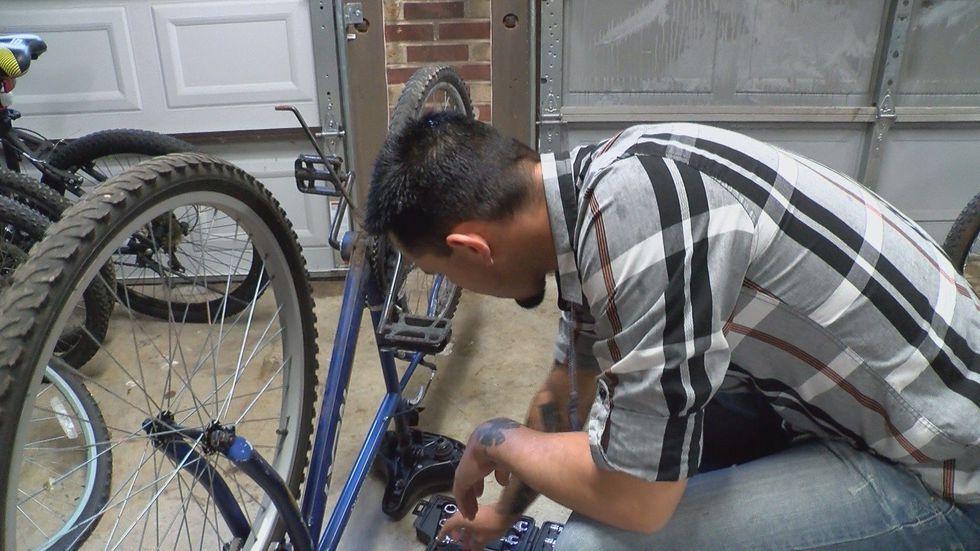 John Cornelius,who works for theJohn J. Pershing Medical Center in Poplar Bluff is fixing...