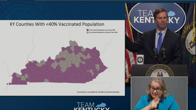 Governor Andy Beshear held a briefing on Kentucky's response to the Delta variant at 3 p.m. on...