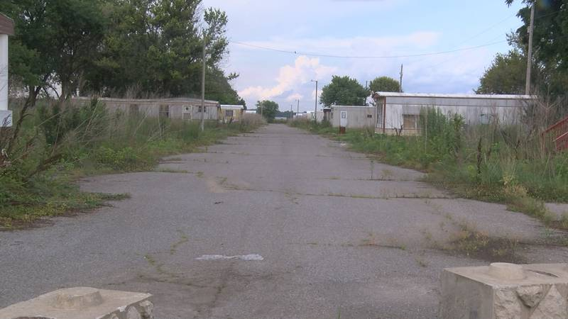 A lot full of homes sits vacant after flooding 2 years ago.