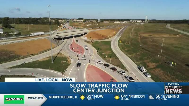 Construction on Center Junction showed some progress on Thursday, October 21.