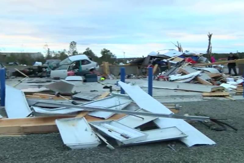 Tornado damage to a storage facility in Fredericktown, Mo.
