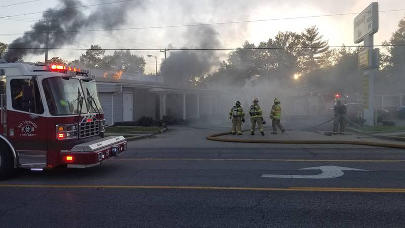 Crews responded to a fire at an Economy Inn in Mt. Vernon.