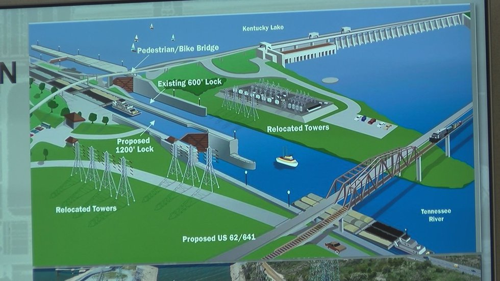 Construction is underway at the Kentucky Lock.