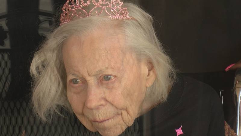 Doris Hardy turns 100th during the Pandemic. She is a resident at the Lutherans home.
