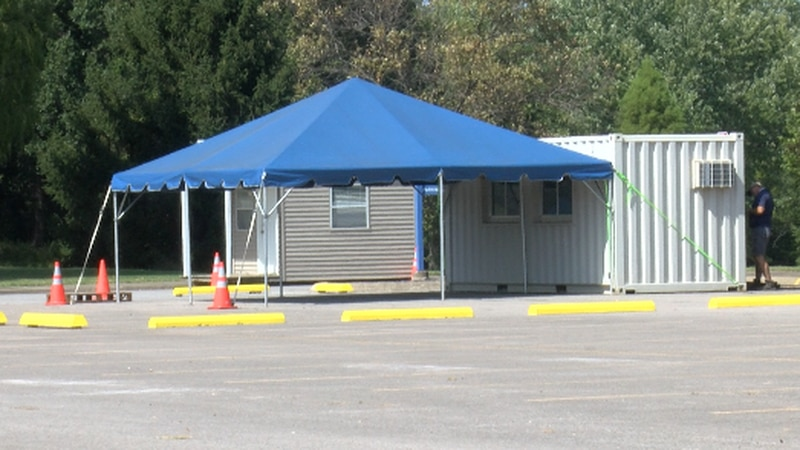 One of the weekly testing sites set up on John A. Logan Community College campus.