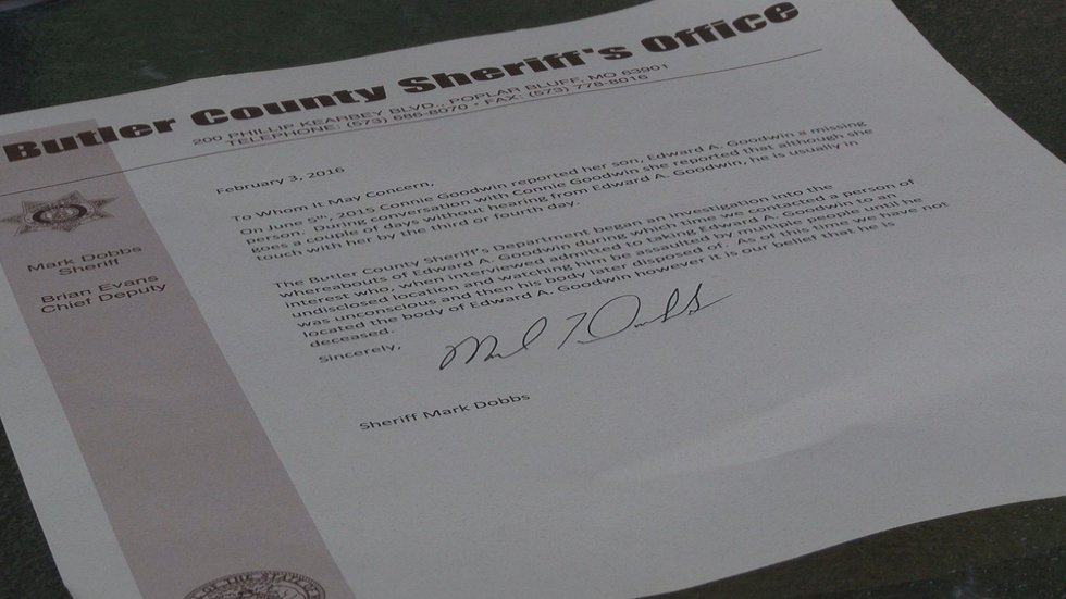 The Butler County Sheriff's department says they believe he is probably dead in a letter to...