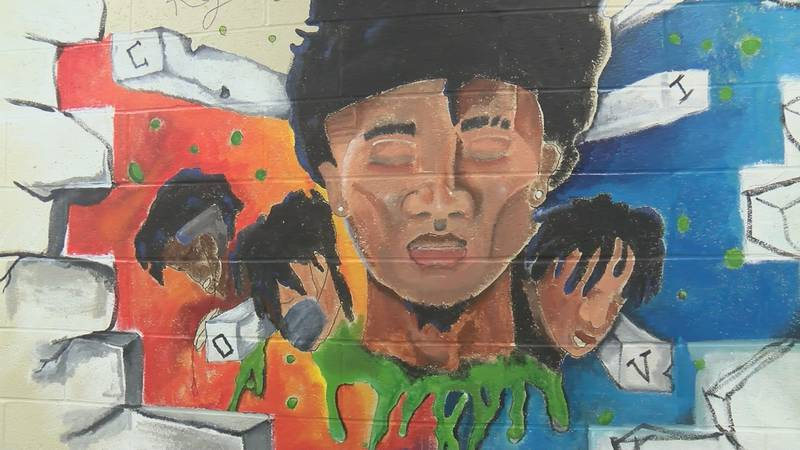 Mural painted by 15-year-old Khamani Rutherford