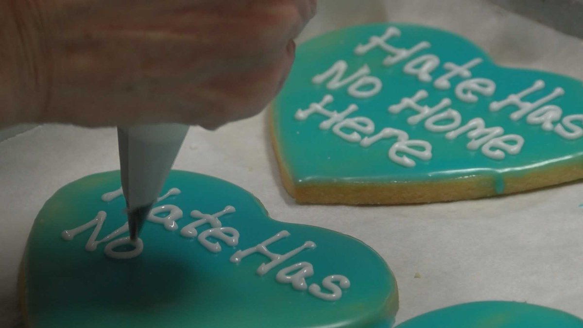 """""""No Hate"""" cookies are being sold to help an immigrants rights program. (Source - Chris Drury)"""