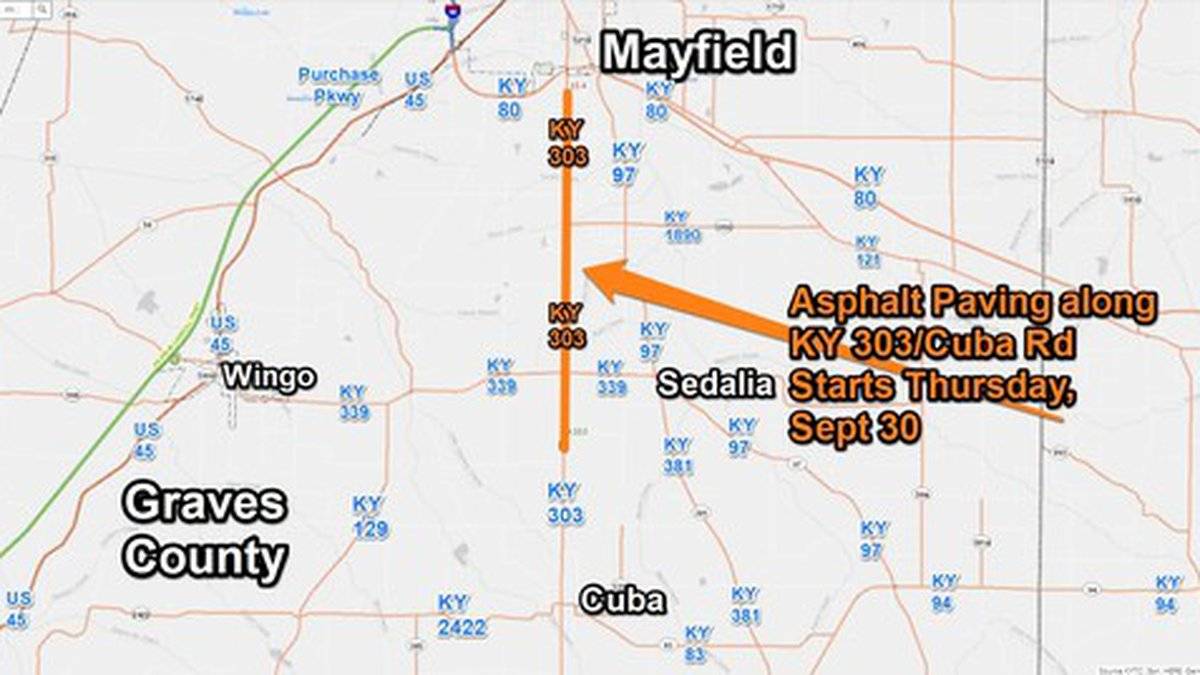On Thursday, September 30, at 7 a.m. paving work will begin on KY 303/Cuba Road.