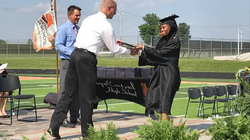 The Cape Girardeau Central Tigers graduated 309 students on Sunday outside.