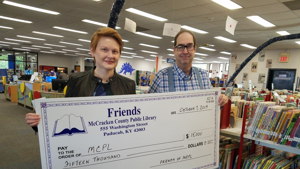 The Friends of McCracken County Library donated $15,000 to the Library from the summer 2019...