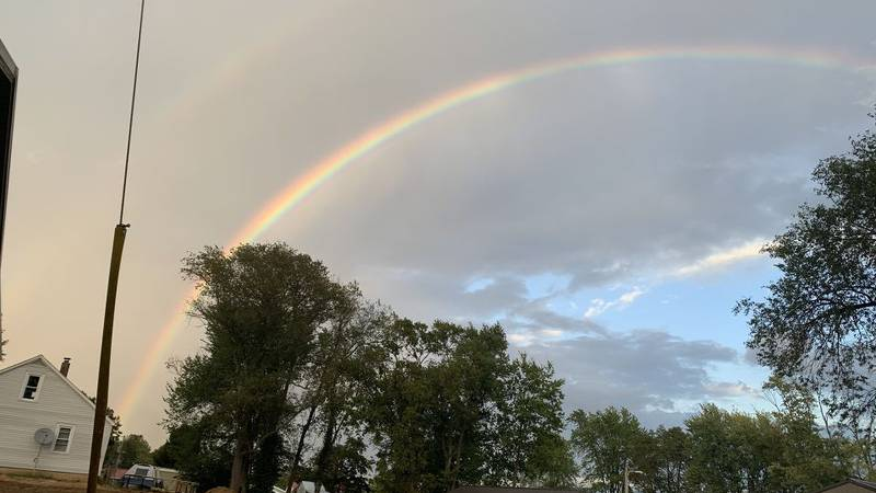 A double rainbow spotted in Perryville, Mo.