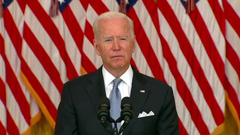 President Joe Biden addressed the crisis in Afghanistan on Monday afternoon.