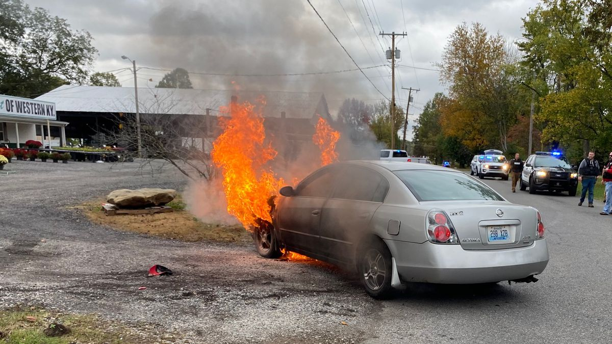 A car caught on fire during a chase with law enforcement in McCracken County, Ky.