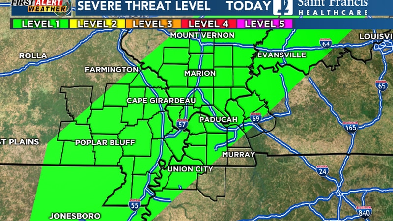 Storms today are not expected to be severe, but the Heartland is outlooked for a level-1 risk.