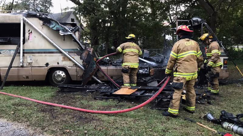 Fire crews on scene said the RV caught fire behind a home.