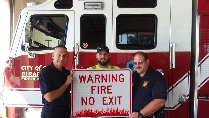 Firefighters will use the sign to block off exits during fire drills at Cape Girardeau Schools...