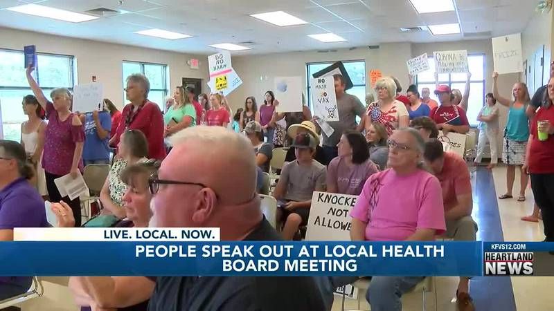 People spoke out at a routine Cape Girardeau County health board meeting on Tuesday, July 27.