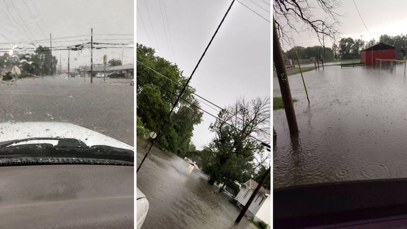 Flooding in Du Quoin, Ill. on Friday evening, July 16.
