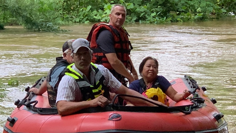A Missouri State Highway Patrol trooper assisted with a rescue during flash flooding.