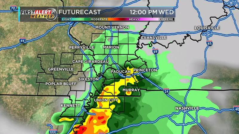 Most of the Heartland will see moderate rain early in the day. (Source: KFVS)