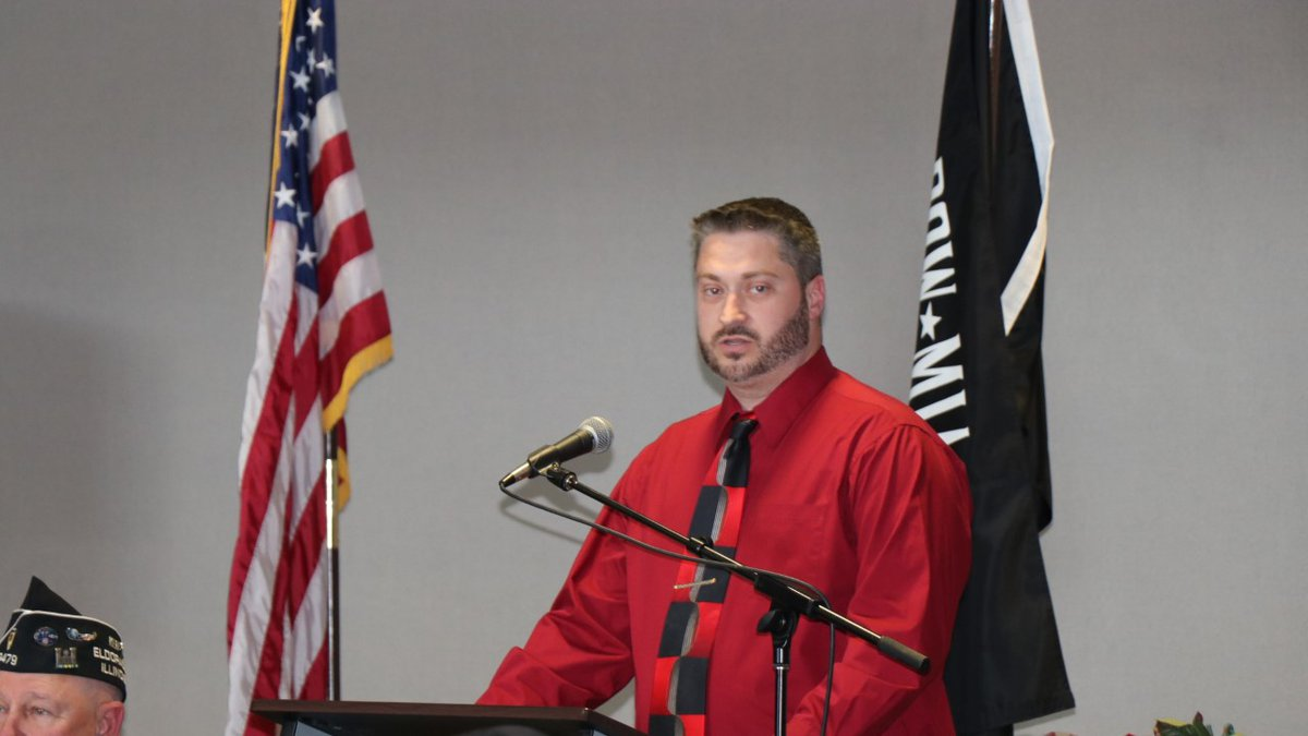 Army Specialist Josh Richardson of Carrier Mills was the keynote speaker at the Nov. 8 Veterans...