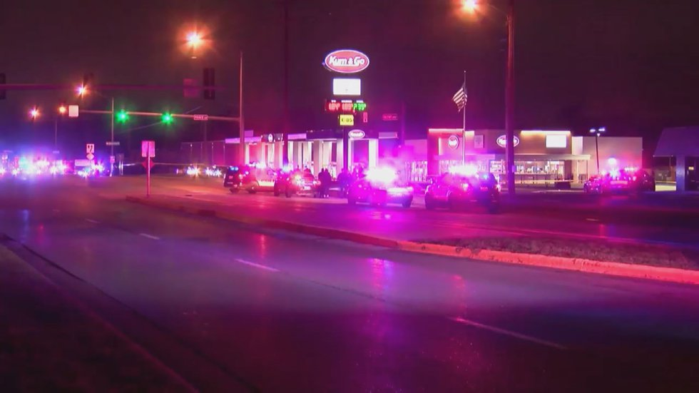 Five people, including a police officer and gunman, are dead after a shooting at gas station in...