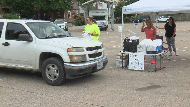 Organizers with the Missouri Job Center turned a church parking lot into a one-stop shop for...