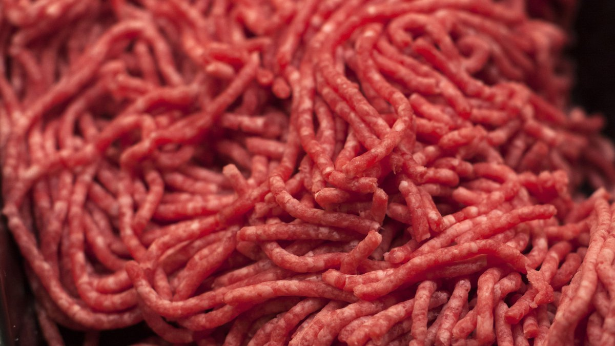 FILE - In this Saturday, April 1, 2017 file photo, ground beef is displayed for sale at a...