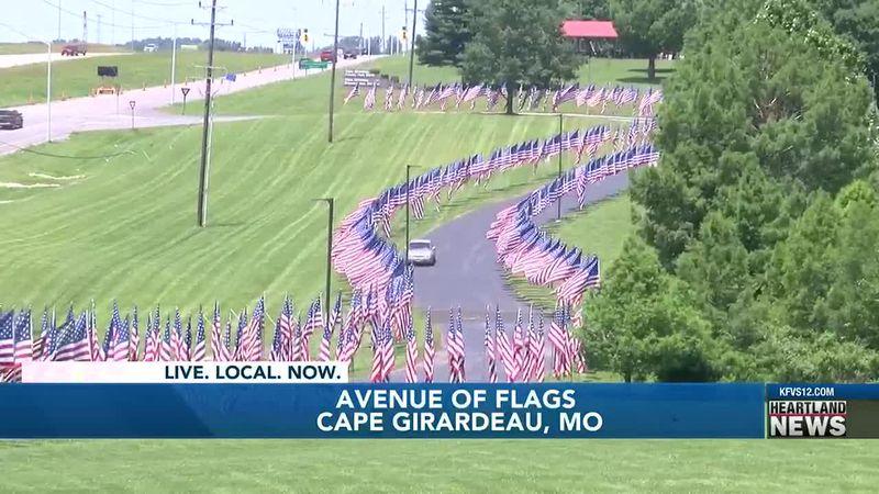 Volunteers set up Cape Girardeau Avenue of Flags
