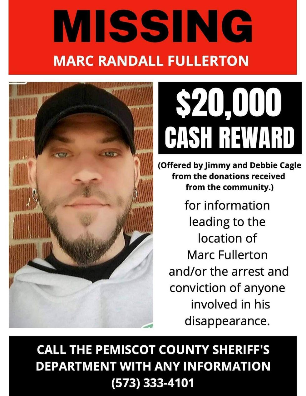 The family of Marc Fullerton has now raised the reward to $20,000.