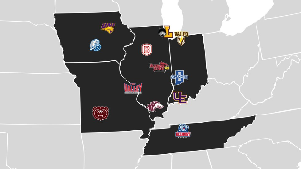The 11 Missouri Valley Conference teams.