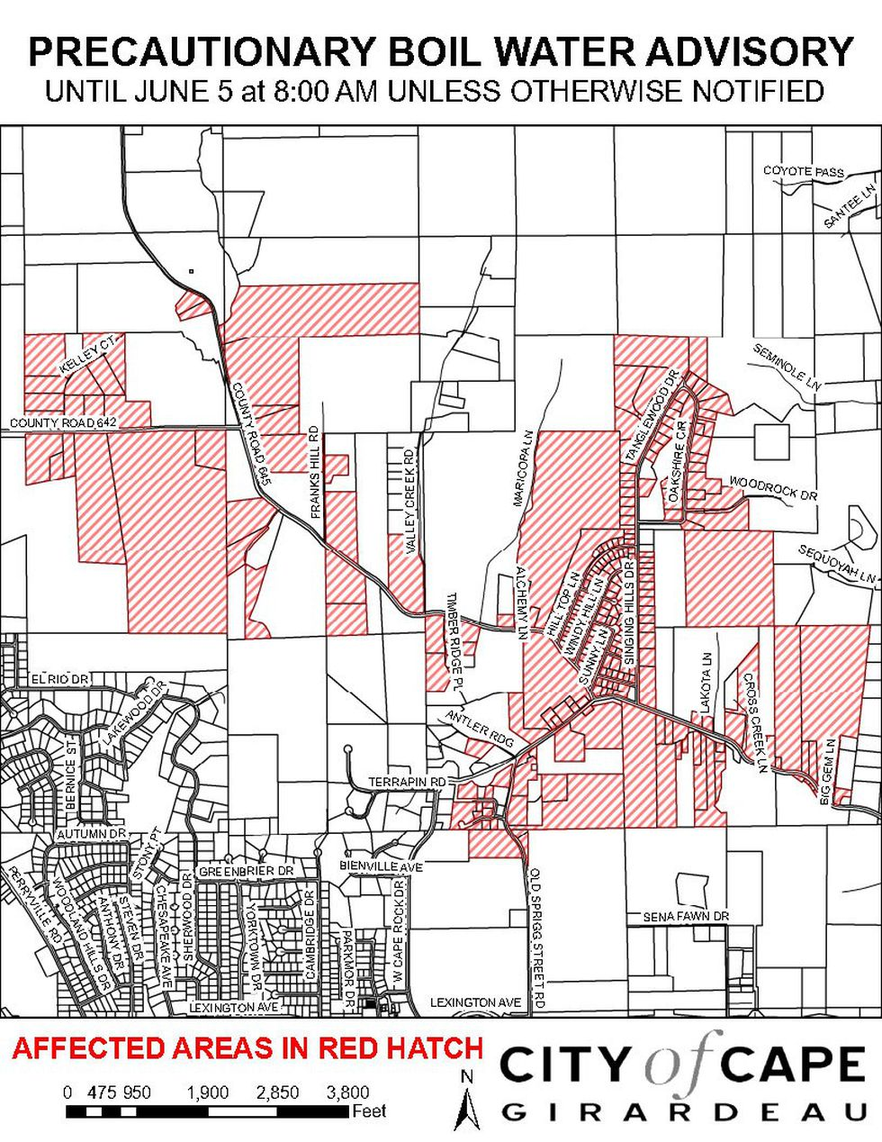A precautionary boil water advisory was issued for the West Cape Rock area. This includes...