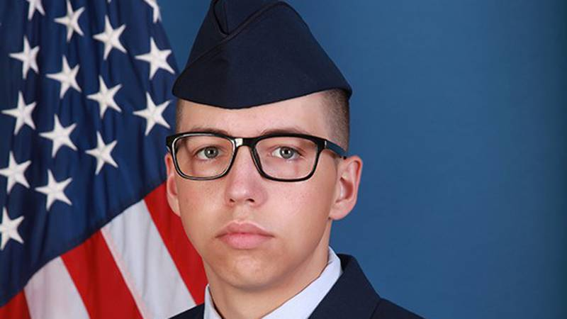 U.S. Air Force Airman Tyler S. Hill graduated from basic military training at Joint Base San...