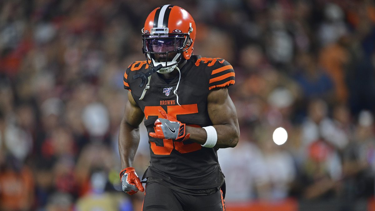 Cleveland Browns defensive back Jermaine Whitehead is introduced before an NFL football game...