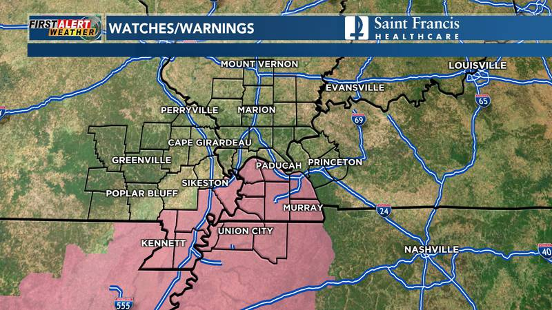 A severe thunderstorm watch was issued for parts of Missouri, Kentucky and Tennessee until 8 p.m.