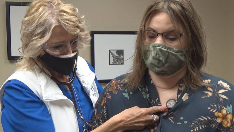 Heather Sieberg gets a check-up at Cape Primary Care after testing positive for COVID-19 in...