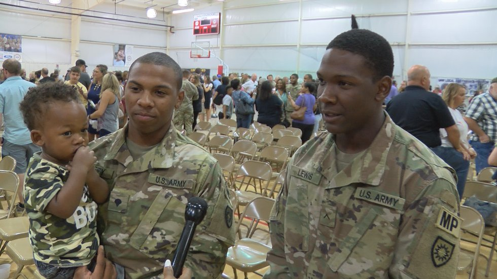 Xavion Rigsby (left) and his brother, Dequantez Lewis (right) are being deployed to Guantanamo...