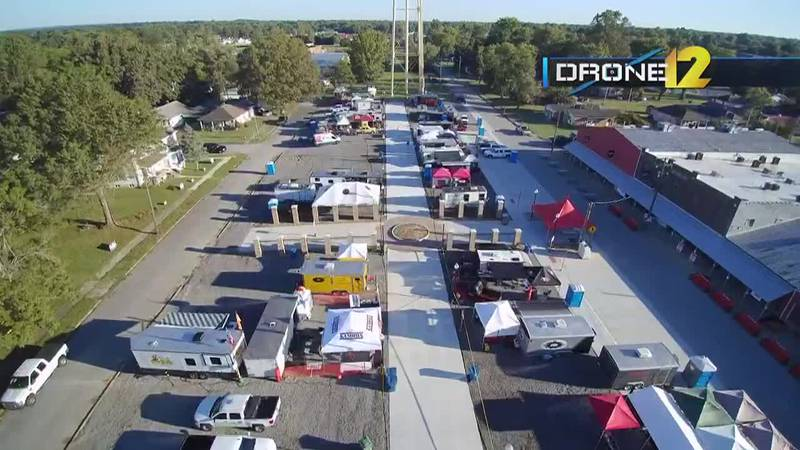 A look at the setup for Praise the Lard in Murphysboro, Ill. on Friday, Sept. 24.