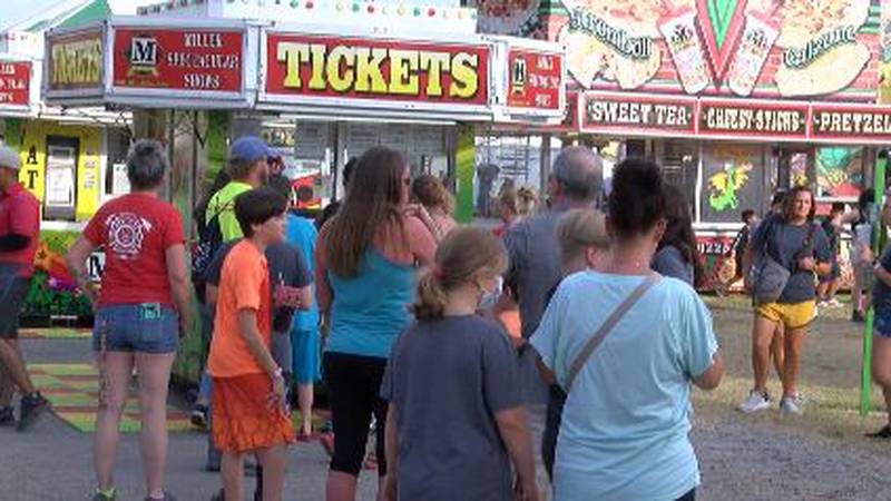 People are waiting in line to buy tickets at the SEMO District Fair in Cape Girardeau.