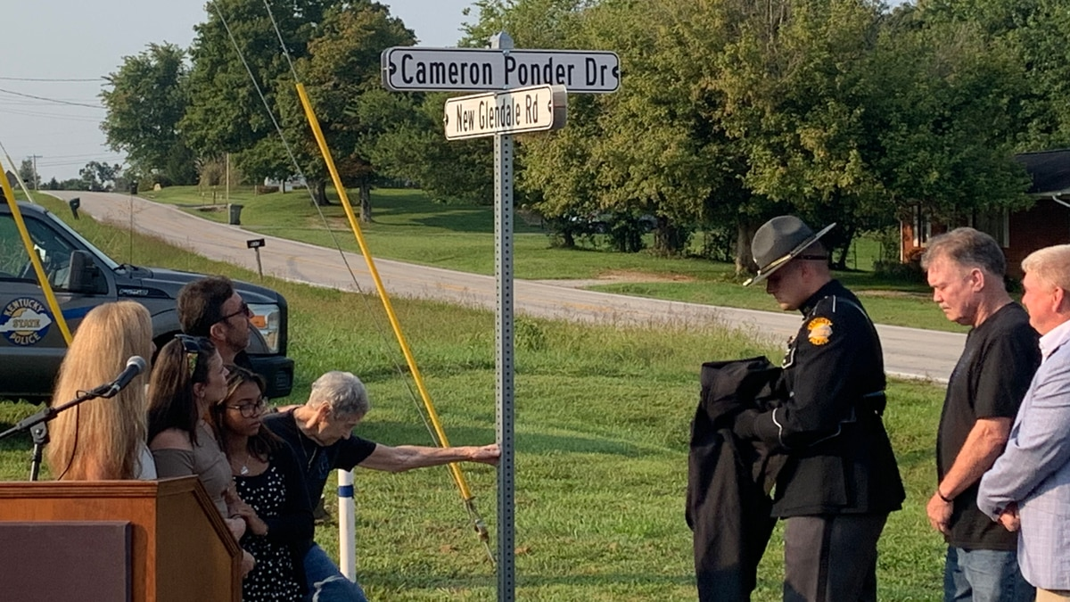 On Monday, a new street sign was unveiled for Cameron Ponder Drive, named after Trooper Cameron...